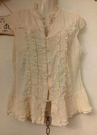 Блузка рубашка топ с рюшами в романтическом стиле