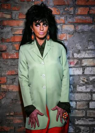 Пиджак винтажный удлинённый длинный винтаж из вискозы жакет блейзер