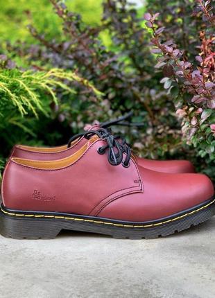 Шикарные туфли унисекс dr. martens 1461 cherry