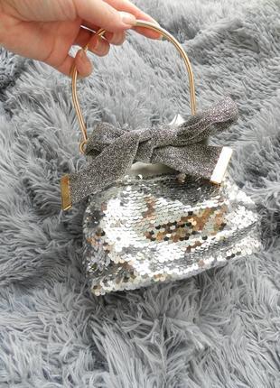 Красивая блестящая мини сумочка клатч паетки пайетками