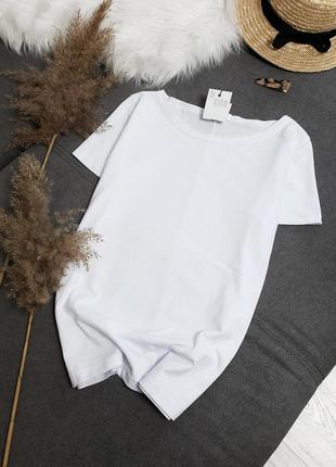 Базова біла бавовняна футболка нова! базовая белая футболка