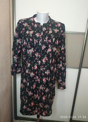 Платье-рубашка цветосный- принт