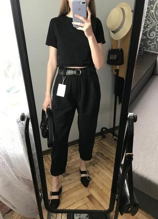 Slouchy bershka чёрные джинсы на высокой посадке свободные, новые