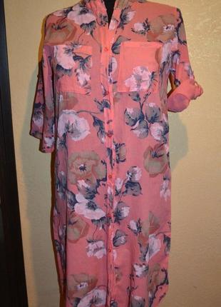 Платье,принт цветы, размер 52
