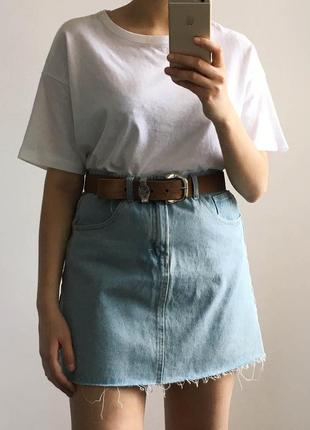 Джинсовая юбка с высокой талией denim&co блакитна джинсова спідниця з високою посадкою
