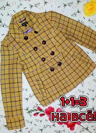 🎁1+1=3 фирменное шерстяное пальто в клетку 65% шерсть topshop демисезон, размер 42 - 44