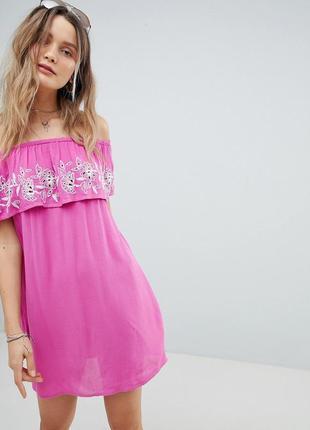 Новое платье из жатой ткани цвета фуксии asos accessorize плаття з квітковою вишивкою