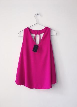 Новый яркий топ цвета фуксии new look 🌺 яскраво-рожевий топ вільного крою