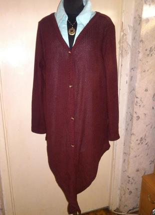 Асимметричная,марсала,блузка-кардиган с хвостами-узлом,большого12-18 размера