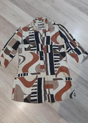 Удлинная рубашка, туника на пуговицах