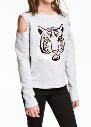 🎁1+1=3 стильный серый свитер с открытыми плечами лонгслив с тигром h&m, размер 44 - 46