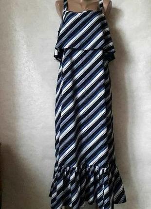 Новое фирменное marks & spenser платье/сарафан в пол в полосочку и воланами, размер хл