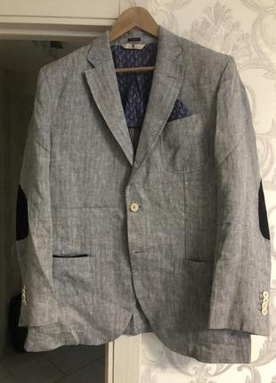 Стильный пиджак лён р 52 massimo dutti