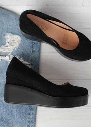 Черные туфли на танкетке, платформе 38, 39, 40 размера
