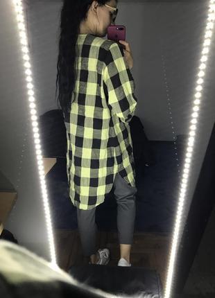Рубашка в клетку туника удлиненная
