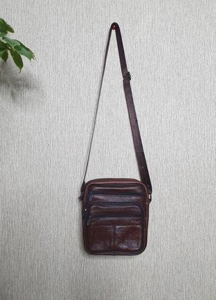 Мужская сумка с широким ремнем , кожа