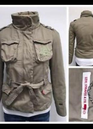 🎁1+1=3 фирменная женская хаки куртка парка демисезон levis оригинал, размер 44 - 46