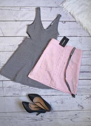 Новая розовая юбка трапеция с кармашками