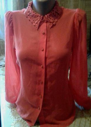 Блузка рубашка блуза шифон кружево