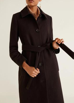 Классическое шерстяное пальто шоколадного цвета mango