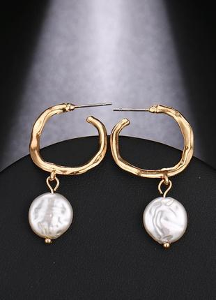 Серьги серёжки кольца необработанное золото с речным жемчугом новые