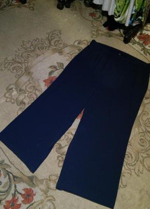 "Стрейч-""шифон"",тёмно-синие,брюки клёш,палаццо,на резинке,большого размера,морокко"