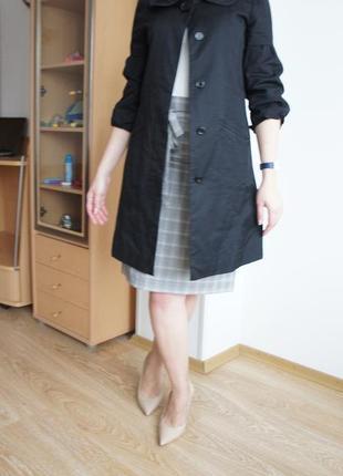 Черное летнее пальто-плащ а-силуэта из котона ostin