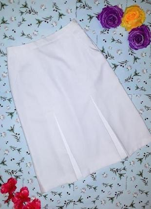 🎁1+1=3 фирменная плотная белая юбка со складками миди, размер 46 - 48, дорогой бренд