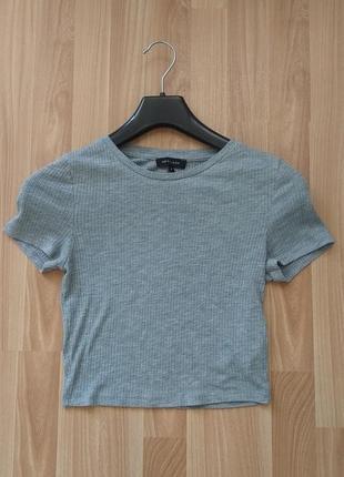 Сірий топ в рубчик від new look, футболка, майка