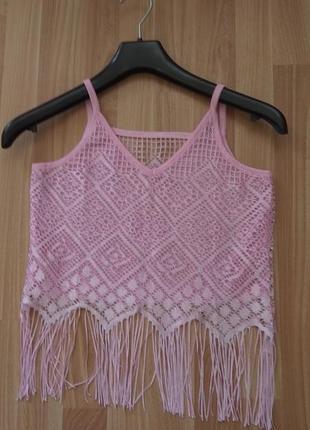 Рожевий топ з бахромою, майка, футболка