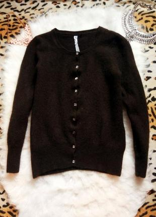 Коричневый кардиган на пуговичках стразах камнях натурал кашемир свитер кофта накидка