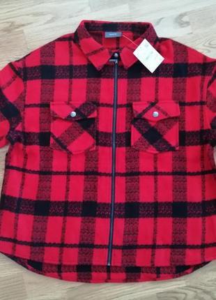 Пиджак куртка теплая рубашка на змейке в клетку германия yessica by c&a