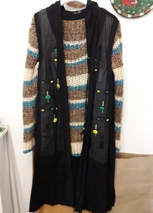 Черная натуральная длинная накидка легкая кардиган с капюшоном карманами цветные кожзам