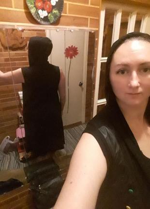 Черная натуральная длинная накидка легкая кардиган с капюшоном карманами цветные кожзам3 фото