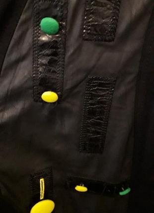 Черная натуральная длинная накидка легкая кардиган с капюшоном карманами цветные кожзам2 фото