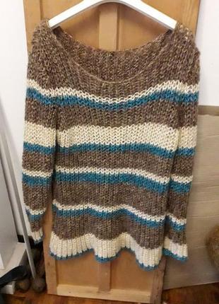 Коричневый цветной вязаный плотный свитер в полоску белую синюю кофта высокий рост