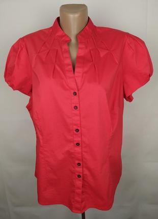 Блуза рубашка красная красивая стрейчевая большой размер marsk&spencer uk 18/46/xxl