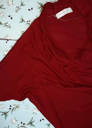 🌿1+1=3 стильный красный тонкий свитер с напуском на груди zara, размер 46 - 482 фото