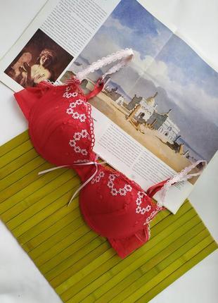 Новый лиф алый красный белый сеточка вышивка