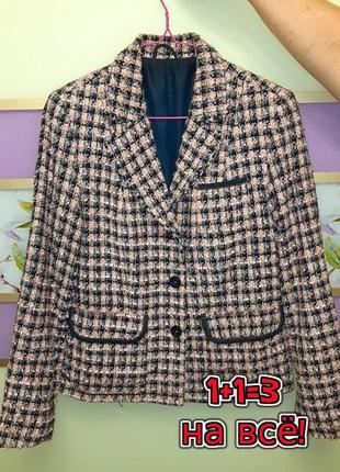 🌿1+1=3 крутой трендовый твидовый пиджак c&a розовый + синий, размер 46 - 48