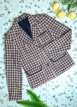 🌿1+1=3 крутой трендовый твидовый пиджак c&a розовый + синий, размер 46 - 482 фото