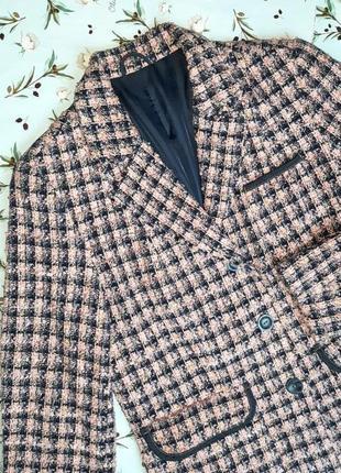 🌿1+1=3 крутой трендовый твидовый пиджак c&a розовый + синий, размер 46 - 488 фото