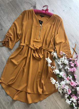 Легкое летнее платье свободного кроя, платье с поясом
