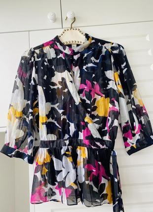 Шёлковая летняя блуза прозрачная легкая модный принт в цветы 💐 diane von furstenberg