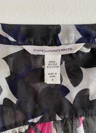 Шёлковая летняя блуза прозрачная легкая модный принт в цветы 💐 diane von furstenberg2 фото