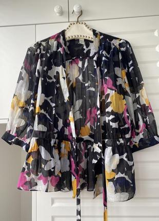 Шёлковая летняя блуза прозрачная легкая модный принт в цветы 💐 diane von furstenberg3 фото