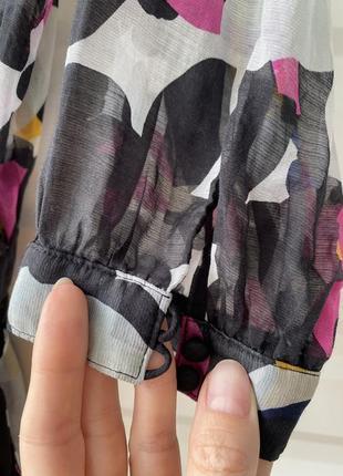 Шёлковая летняя блуза прозрачная легкая модный принт в цветы 💐 diane von furstenberg4 фото