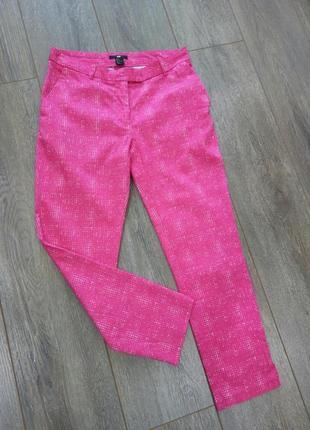 Розовые яркие в мелкий принт стрейч узкие с разрезами брюки штаны