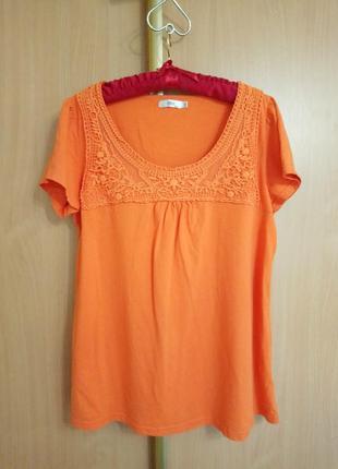 Оранжевая хлопковая футболка bonprix collection