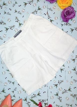 🎁1+1=3 фирменные белые шорты бермуды с карманами, высокая посадка, размер 46 - 48